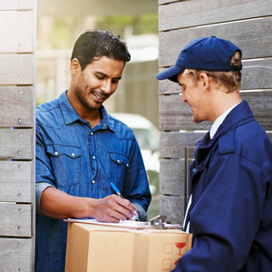 A delivery man with a customer