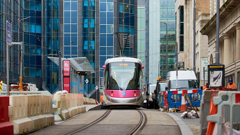 Midland metro in Birmingham, United Kingdom