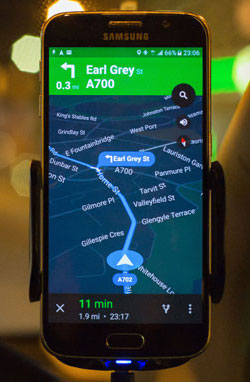 Car Sat Nav on a smartphone