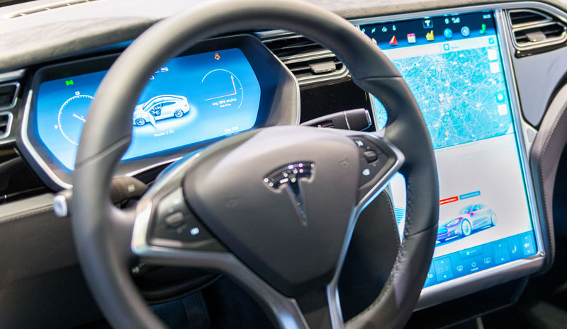 Tesla electric car dashboard