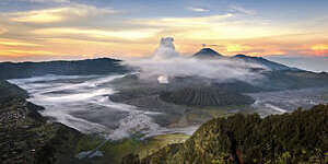 view of Mount Bromo Volcano, the famous place for traveller, at sunrise , East Java, Indonesia