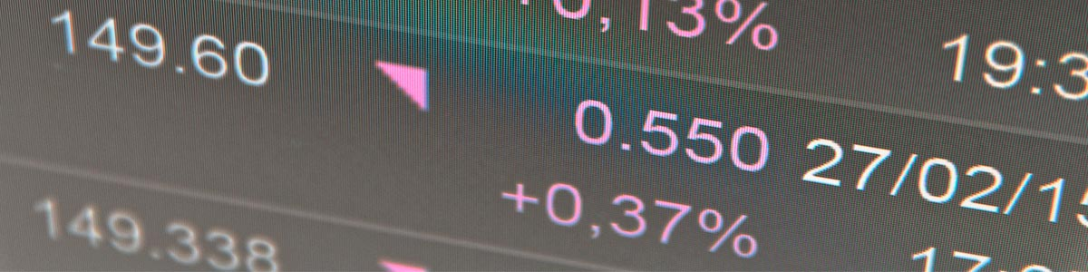 Close-up computer monitor with trading software.