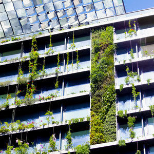 Office building with vertical gardens and heliostats