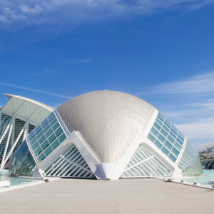 L'Hemisfèric builing in the City of Arts and Sciences in Valencia, Spain.