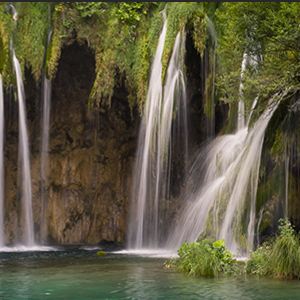 Waterfalls and lakes in Plitvice jezera national park, Croatia.