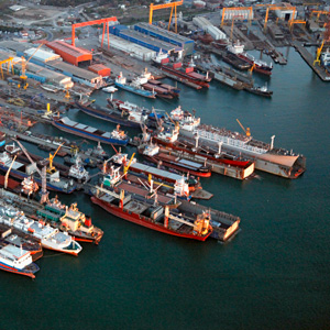 Aerial view of a port with ships.