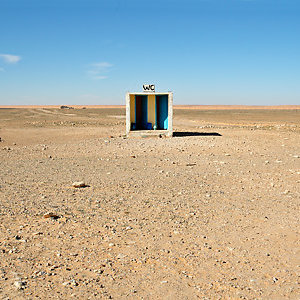 An outside toilet in the Tunisia desert.