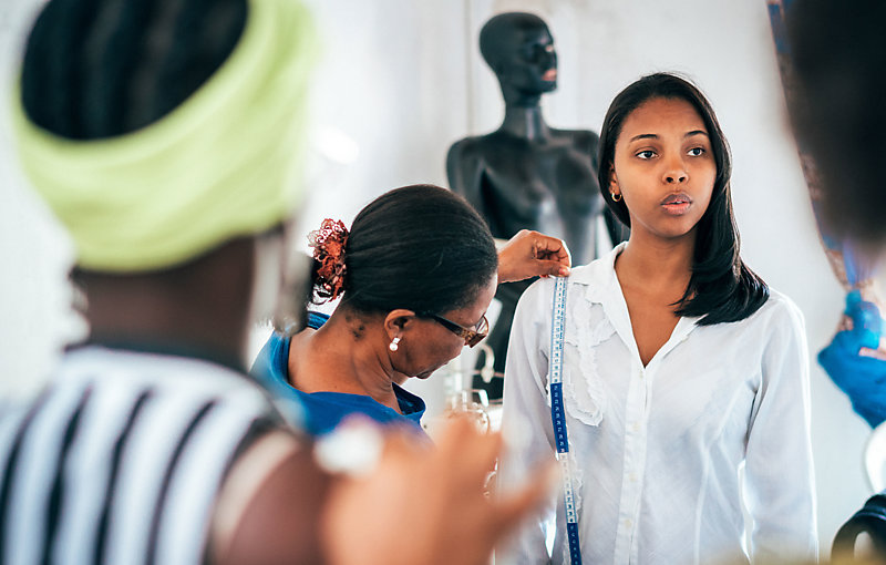 Brazilian women in a tailor workroom.