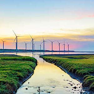 Landscape of windmills in Gaomei Wetlands, Taiwan.