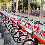 Row of bicycles for rent in Barcelona, Spain.