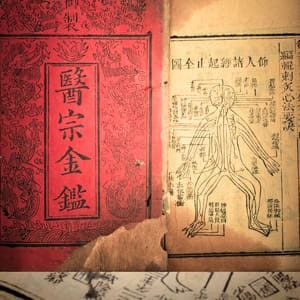 this is very old Chinese traditional herbal medicine ancient book(Golden Mirror of Medicine),from qing dynasty have more than 200 years(maybe 18th century).the book records the use of acupuncture,herbal medicine and book of changes with chinese script.It is preserved complete by one chinese doctor of my grandfather.