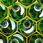 Glass bottles.