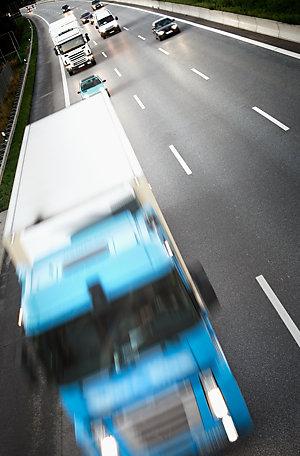 Lorries on a highway