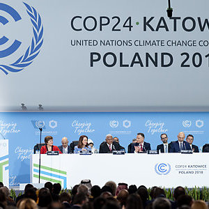 Panel of world leaders at the COP24 climate change conference in Katowice, Poland.