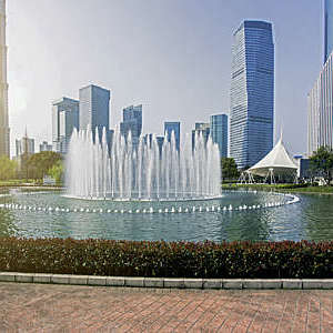 Water fountain in a park in Shanghai, China