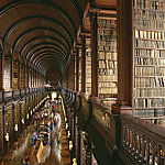 Bookcases laden with books in the Old Library at Trinity College Dublin.