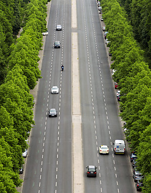 Aerial view of cars on a dual carriageway in Berlin, Germany.