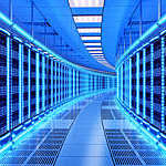 Racks of server in a data center.