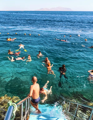 People snorkeling in blue waters above coral reef, Sharm-El-Sheikh, Egypt.