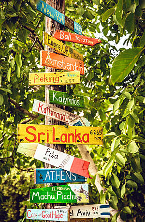 Directions signpost with distance to many different countries, cities and places.