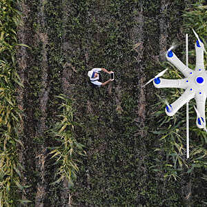 Farmer using a drone to spray his crops.