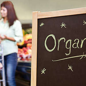 Organic sign in a grocery store with shoppers in the background.