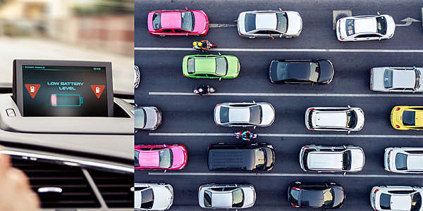 Photo collage of a low-battery warning in an electric car and an aerial view of a traffic jam.