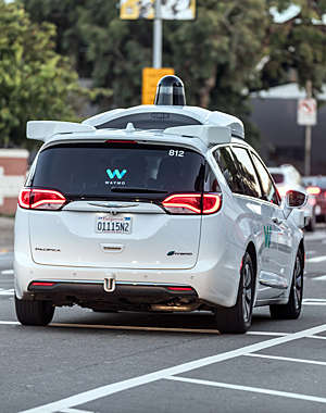 Customized Chrysler Pacifica Hybrid, used for Google's autonomous vehicle program drives.
