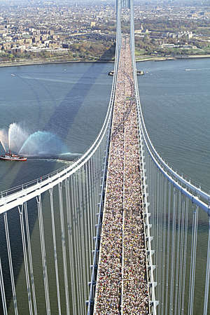 Elevated view of the New York Marathon crossing Verrazano Bridge in Staten Island, New York, USA.