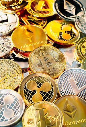 Coins of various cryptocurrencies.