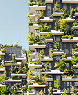 The Bosco Verticale, a pair of residential towers in Milan, Italy, is covered in trees and plants.