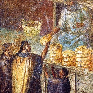 Roman fresco from the House of Julia Felix in Pompeii, Italy.