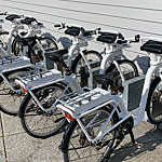 Parked rental electric bikes in Stavanger city, Norway.