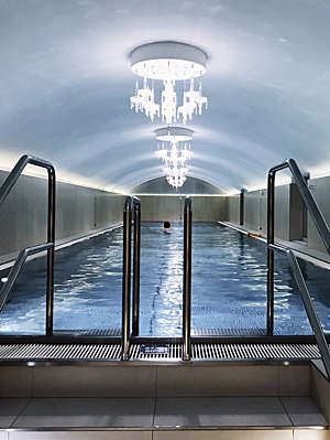 Covered swimming pool at a spa in Vienna, Austria.