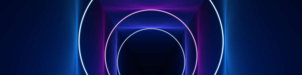 Digitally generated ring-shaped neon lights give a depth effect to a flat surface.