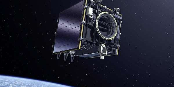 The European Space Agency's Proba-V minisatellite suspended in space.
