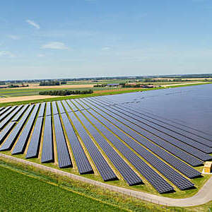 Large solar farms, Andijk, Noord-Holland, Netherlands.