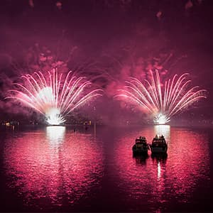 New Year's Eve fireworks on the Limmat River in Zürich, Switzerland.