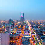 Panoramic view of city lights in Riyadh, Saudi Arabia.