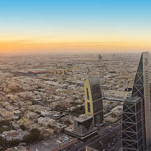 Aerial view of Riyadh City, Saudi Arabia.