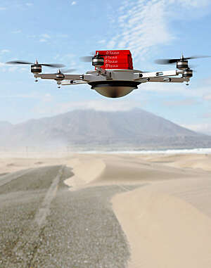 Futuristic photo of a drone delivering bright-red pizza boxes in a sandy desert environment.