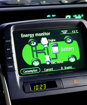 Energy monitor dashboard screen showing the green image of an electric car chassis.