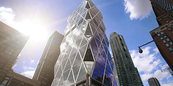 "Hearst Tower, first ""green"" high-rise office building completed in New York City."