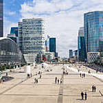 View down the esplanade of La Défense business district in Paris, France.