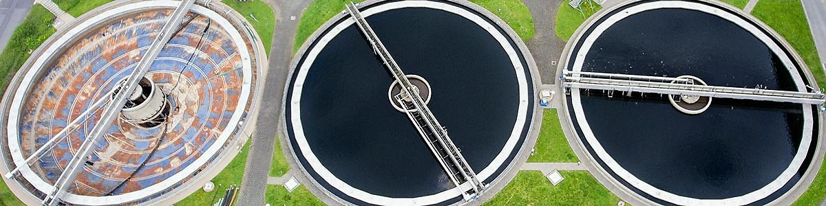 Aerial view of a sewage treatment plant.