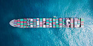 Ultra large container vessel (ULCV) at sea - Aerial image