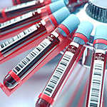 Lab equipment centrifuging blood. Concept image of a blood test.3d rendering.Lab equipment centrifuging blood. Concept image of a blood test.3d rendering.